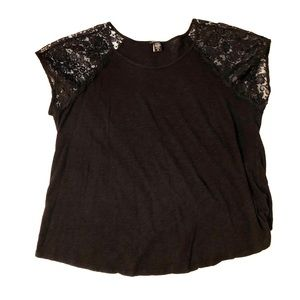 Torrid 2 Black T-shirt w short lace sleeves 2x